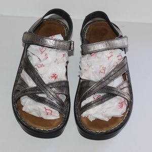 Naot Silver Antiqued Leather Distressed Sandals
